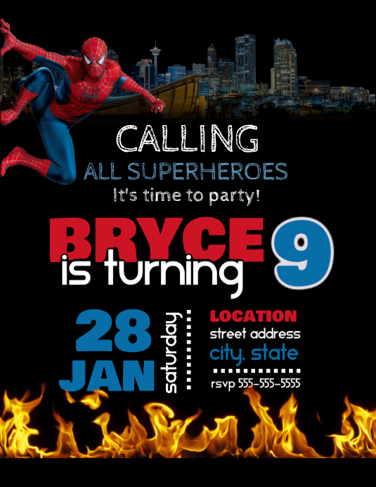 Spiderman Birthday Invitation Ulotka (US Letter) template