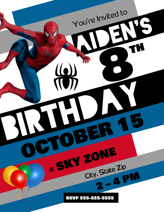 Spiderman Birthday Invitation Customize Template