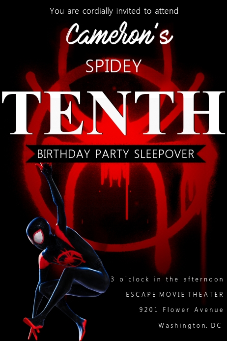 Modèle Invitation Anniversaire Spiderman Postermywall