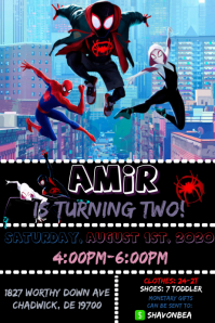 Spiderman Birthday Party Plakkaat template