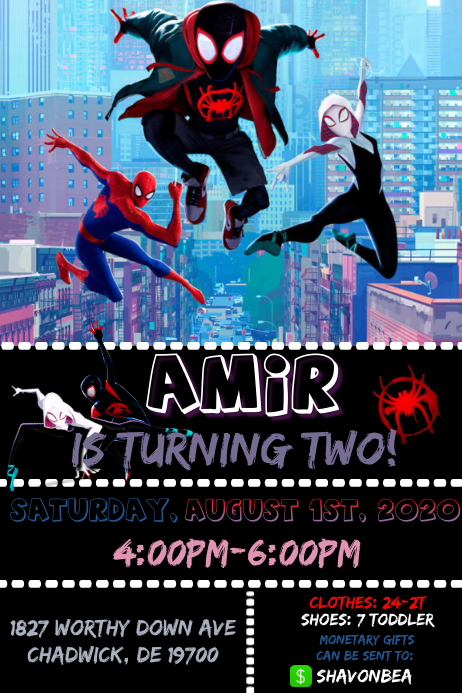 Spiderman Birthday Party Poster template