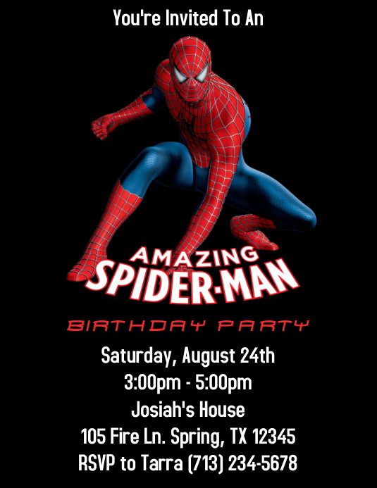 SPIDERMAN BIRTHDAY PARTY INVITATION Flyer (US Letter) template