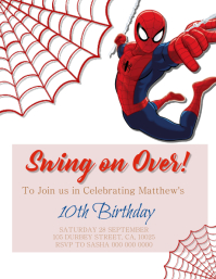 Spiderman Birthday Party Invitation template Pamflet (Letter AS)
