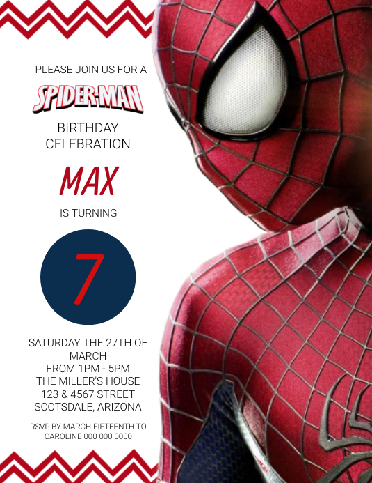 Spiderman Birthday Party Invitation Template Ulotka (US Letter)