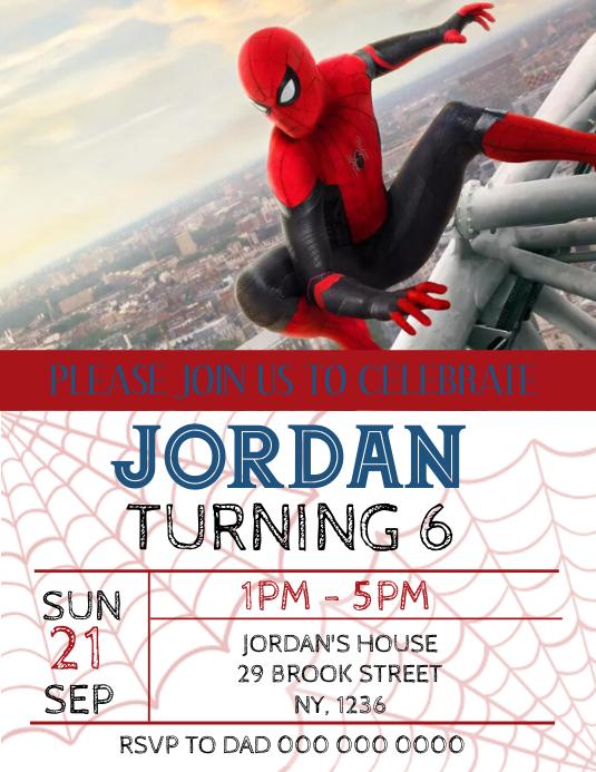 Spiderman Birthday Party Invitation template
