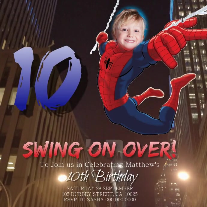Spiderman Birthday Party Invitation template Instagram Post