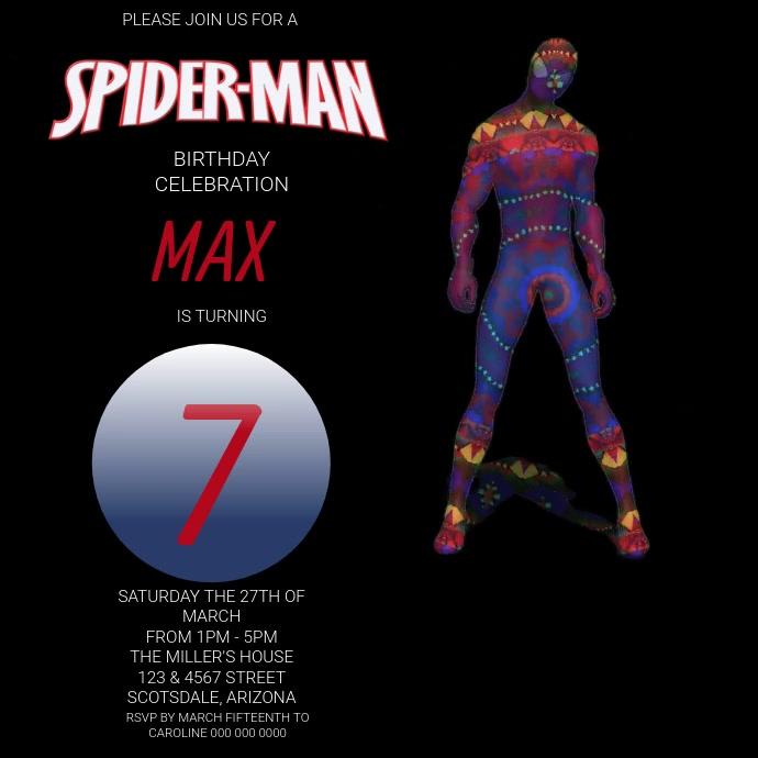 Spiderman Birthday Party Invitation Template Square (1:1)