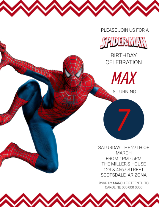 Spiderman Birthday Party Invitation Template Flyer (US Letter)