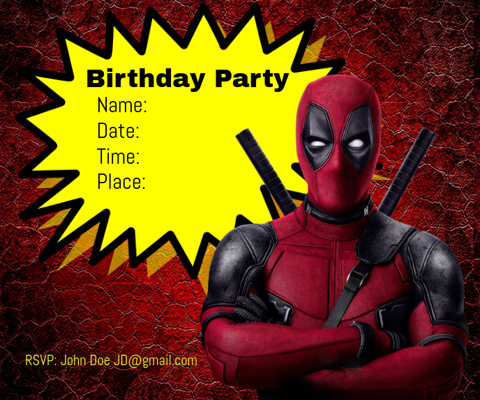 Spiderman Birthday Party Stort rektangel template