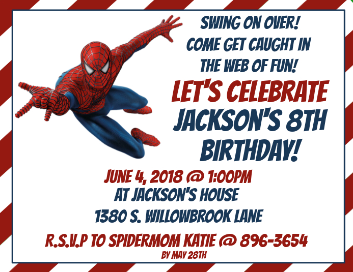 Spiderman Birthday Volante (Carta US) template