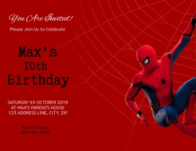 Spiderman Kids Birthday Invitation Template Pamflet (Letter AS)