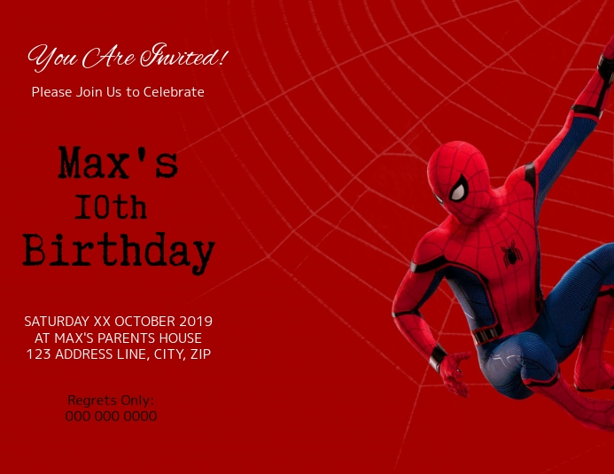 Spiderman Kids Birthday Invitation Template Flyer (US Letter)