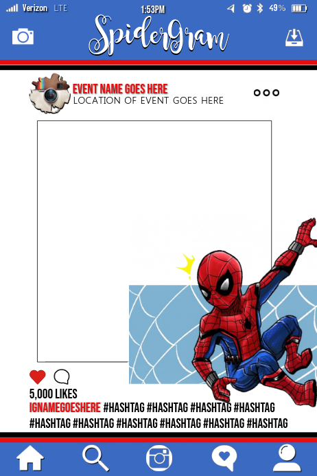 Spiderman Party Prop Frame Template   PosterMyWall