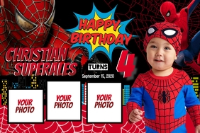 Spiderman Theme Banner 4' × 6' template