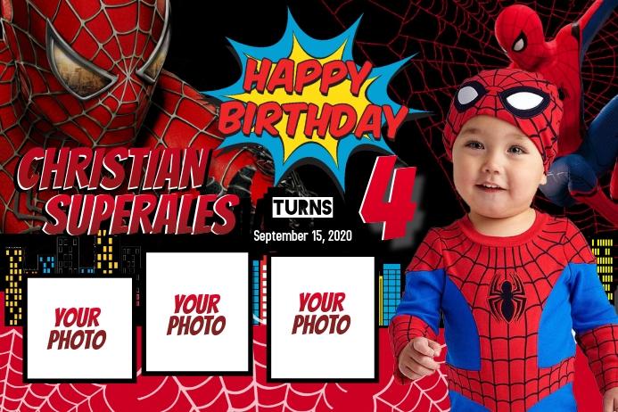 Spiderman Theme แบนเนอร์ 4' × 6' template