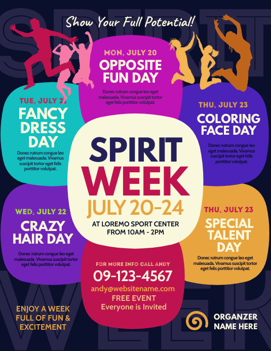 Spirit Week Flyer ใบปลิว (US Letter) template