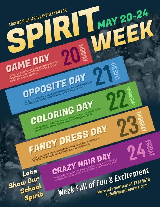 Spirit Week Flyer ใบปลิว (US Letter) template