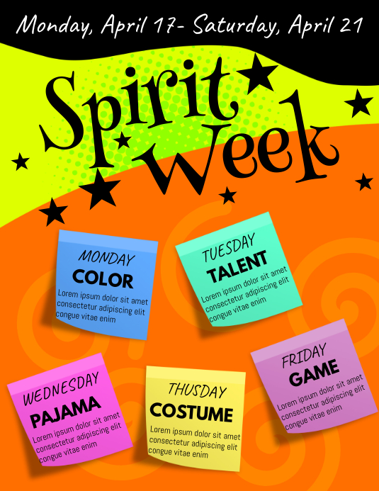 spirit week flyer customize template