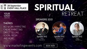 Spiritual Retreat Event Body Mind Soul Stars Facebook Cover Video (16:9) template