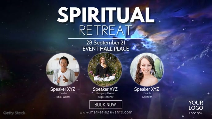 Spiritual Retreat Mind Soul Universe Stars Ad Видеообложка профиля Facebook (16:9) template