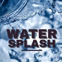 splashing splash aqua water pouring clear dro Album Cover template
