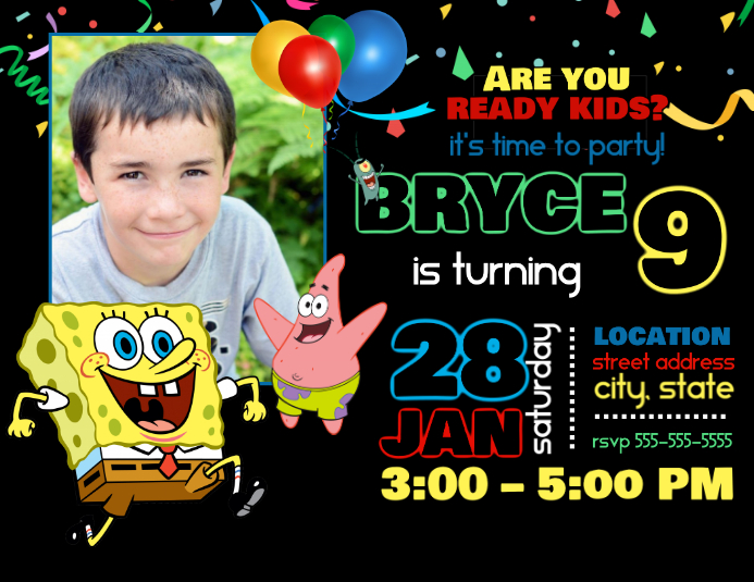 Spongebob Birthday Invitation Customize Template