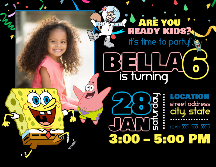 Spongebob birthday invitation template postermywall spongebob birthday invitation customize template filmwisefo