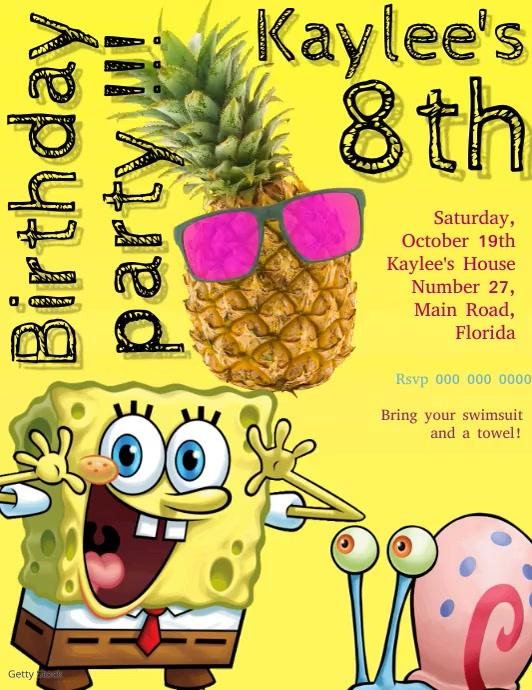Spongebob Birthday Party Invitation Template