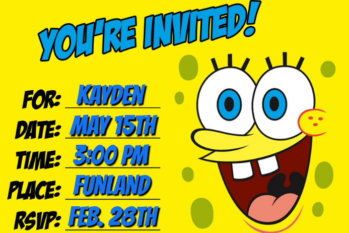 Spongebob Invitation Template Postermywall