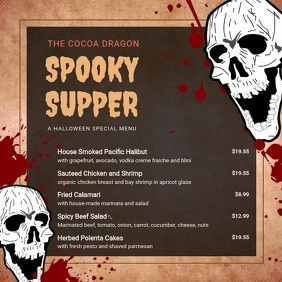 Spooky Halloween Dinner Video Menu 方形(1:1) template