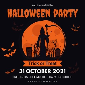 Spooky Halloween Party Invite Template animat