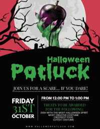 Spooky Halloween Potluck Party Poster Template
