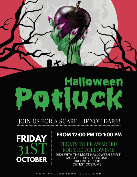 Spooky Halloween Potluck Party Poster Template Løbeseddel (US Letter)