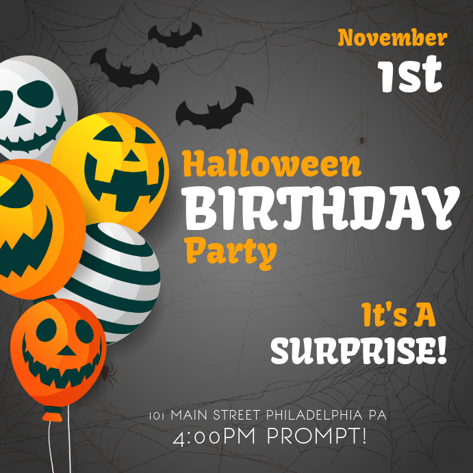 Spooky Halloween Themed Birthday Party Instagram Invitation Template