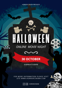 Spooky Halloween Virtual Movie Night Poster A4 template