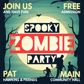 Spooky Halloween Zombie Party Social Media Invitation