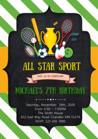 Sport birthday party invitation A6 template