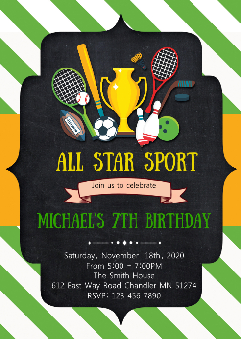 Sport birthday party invitation