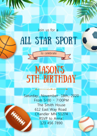 Sport pool birthday party invitation