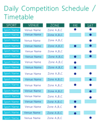 Sport Time Table / Schedule Template