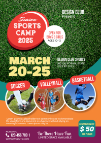 sports camp flyer A4 template