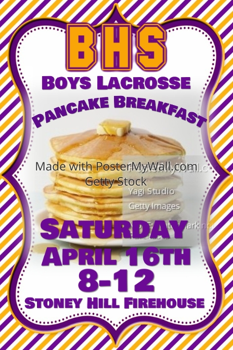 Sports Team Pancake Breakfast Fundraiser Event Flyer Poster