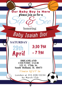 Sports Theme Baby Shower Invite A6 template