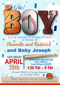 Sports Themed Baby Shower A6 template
