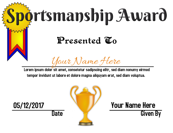 Sportsmanship Award Pamflet (VSA Brief) template