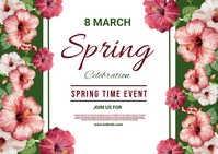 spring, event,spring card Postal template
