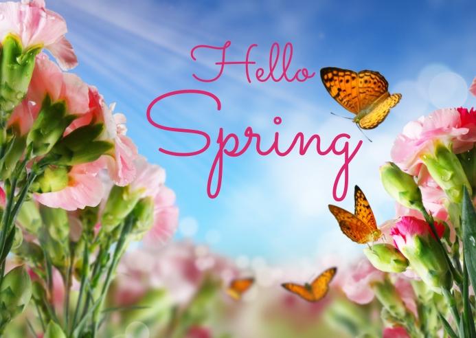 spring, event,spring card Postal template