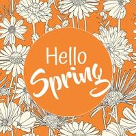 Spring, Greetings โพสต์บน Instagram template