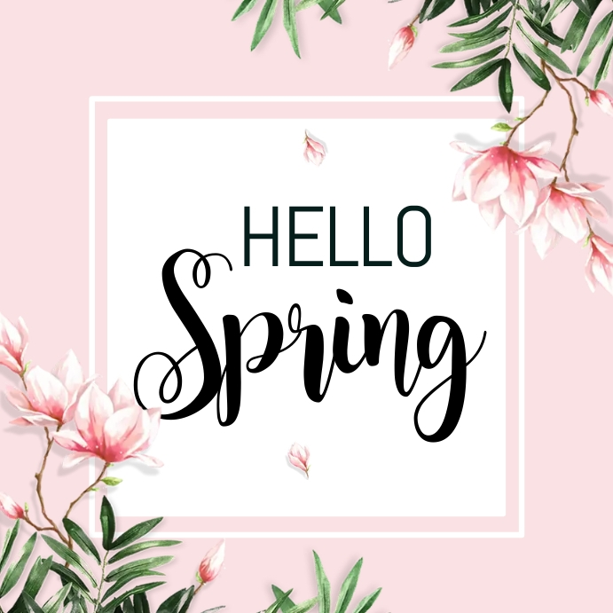 spring, hello spring, spring sale Vierkant (1:1) template