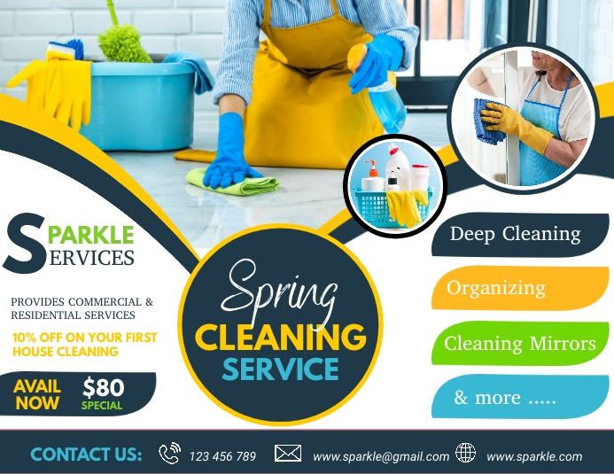 spring, spring cleaning service Folder (US Letter) template